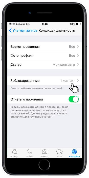 Снять блок с контакта Whatsapp