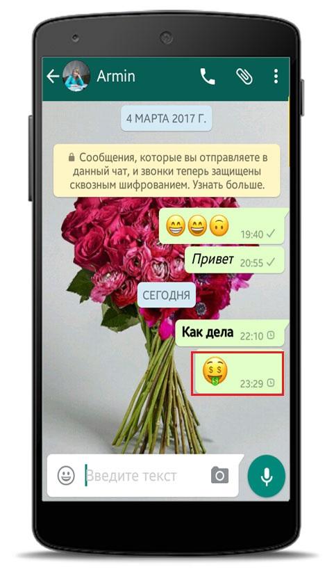 Как отправить смайлик в WhatsApp?